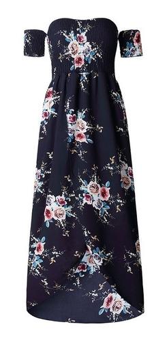 sexy mujeres boho largo vestido apagado hombro floral impres