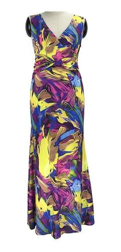 sexy mujeres maxi vestido contrastar color bloque v cuello