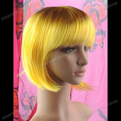 sexy peluca corta amarilla animacion fiesta disfraz lenceria