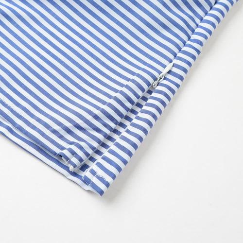 sexy rayas oblicuo collar de manga larga azul xl