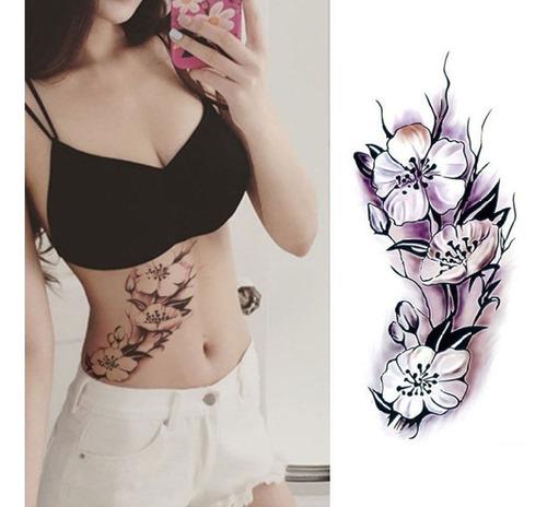 sexy tatuagem adesiva temporaria impermeavel purpura flor