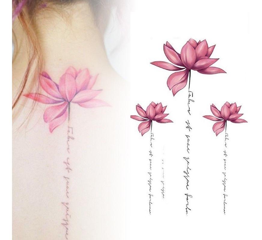 Sexy Tatuagem Temporaria Adesiva Lotus Rosa Flor Suprema