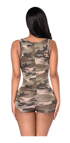 sexy teddy romper verde olivo militar table dance moda 64071