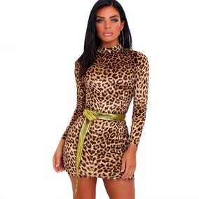 Sexy Mini Vestido Animal Print Leopardo Un Solo Tirante