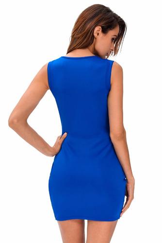 sexy vestido azul con cierre y escote al frente moda 22724