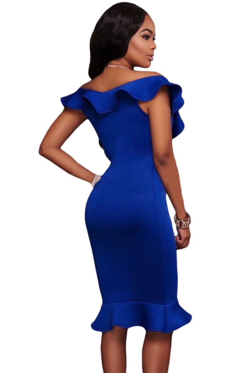 Sexy Vestido Azul Entallado Con Olanes Sin Mangas Sin 61466