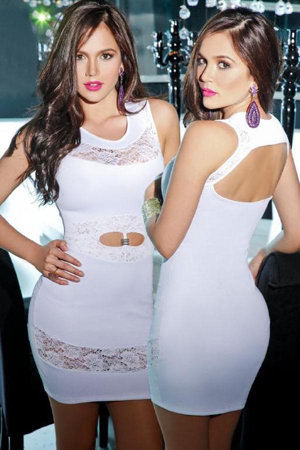 d87da8ce0e Sexy Vestido Blanco Con Abertura Transparencias Fiesta 22512 ...