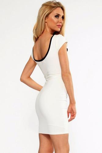 sexy vestido blanco con franjas negro abertura antro fiesta