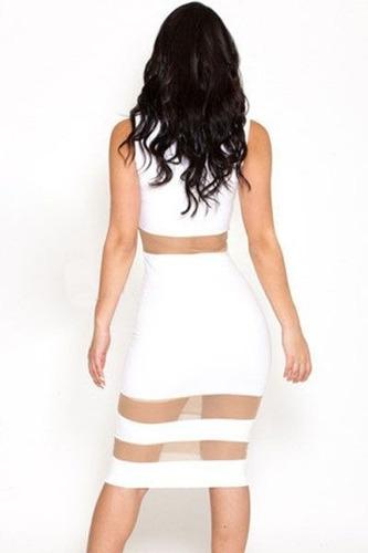 sexy vestido blanco con transparencias frente y cintura 6428