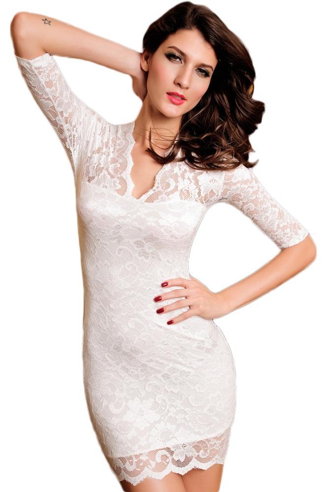 2cbfee20d Sexy Vestido Blanco Manga 3 4 Encaje Escote V 2836 -   470.00 en ...