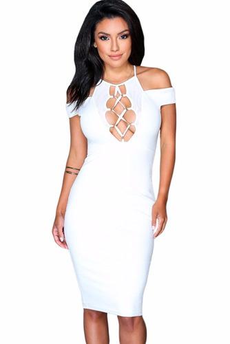 sexy vestido blanco mangas a los hombros y aberturas 61191