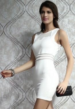 sexy vestido blanco o negro transparencias frente y cintura