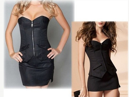 sexy vestido corset traje top + mini falda + tanga