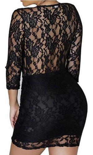 sexy vestido de encaje negro con amplio escote fiesta s-2xl