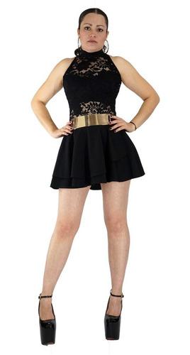 sexy vestido de fiesta negro con encaje corto cuello alt vc59 volado antro show strapless