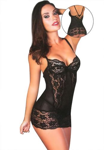 sexy vestido encaje y tanga medias lisas de regalo
