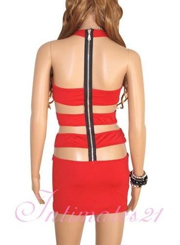 sexy vestido halter rojo aberturas en espalda table dance
