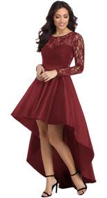 Sexy Vestido Largo Asimétrico Vino Elegante Encaje 61910
