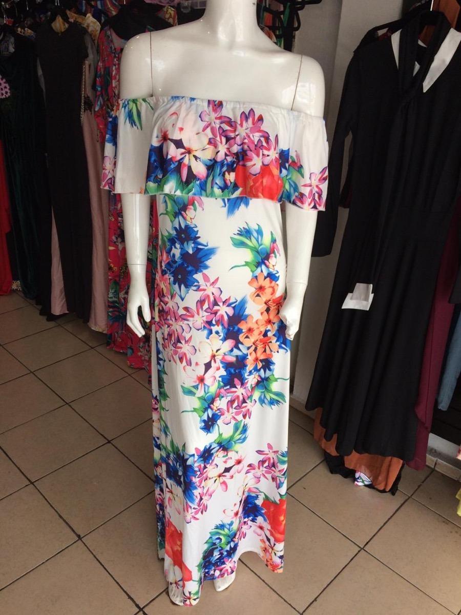 6e1e18bc1 sexy vestido largo floreado hombros olan fiesta dia elegante. Cargando zoom.