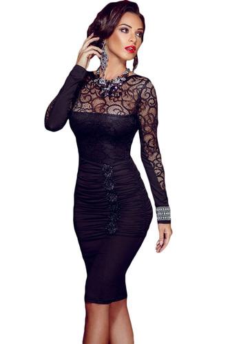 sexy vestido manga larga encaje entallado elegante 60820
