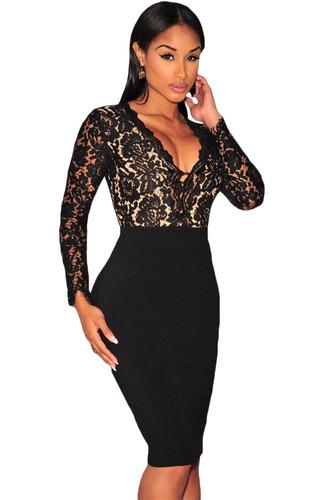 sexy vestido negro con beige escote v manga larga nude 60797