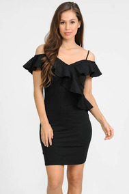 Sexy Vestido Negro Con Brillo Hombros Descubiertos Con Olan