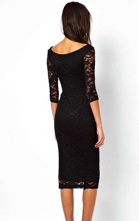 4ef34c164 Sexy Vestido Negro Con Mangas 3 4 Encaje Entallado 6287 -   420.00 ...