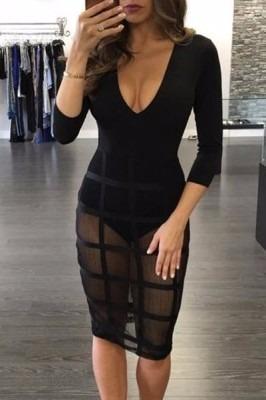 sexy vestido negro con transparencias manga 3/4