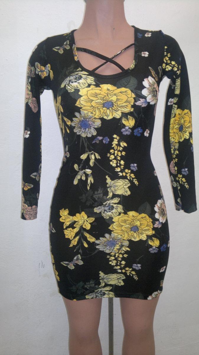 Vestido negro flores manga larga