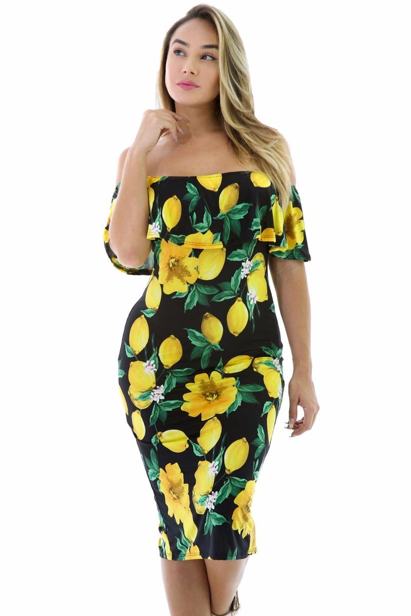 Vestido de fiesta amarillo y negro
