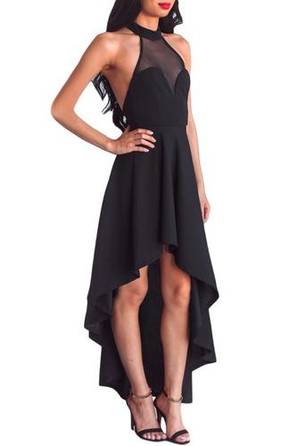 sexy vestido negro halter asimetrico largo elegante 61800