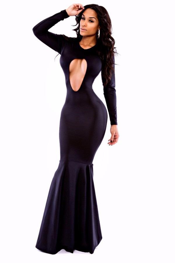 Vestido negro largo escote