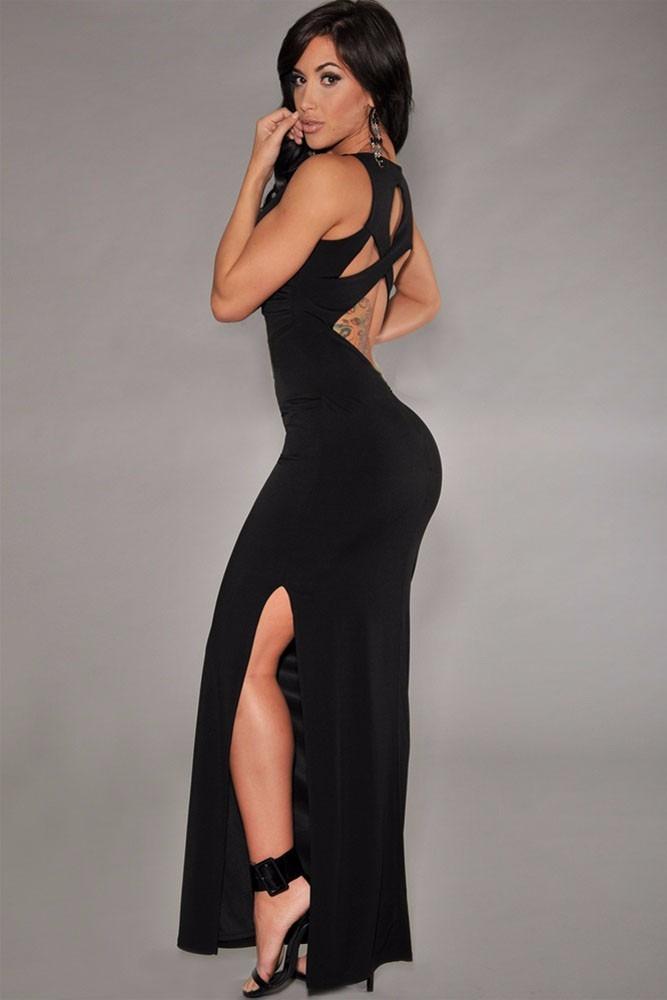 Vestido negro largo abertura pierna