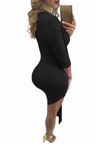 sexy vestido negro mangas 3/4 asimétrico escote v 61203