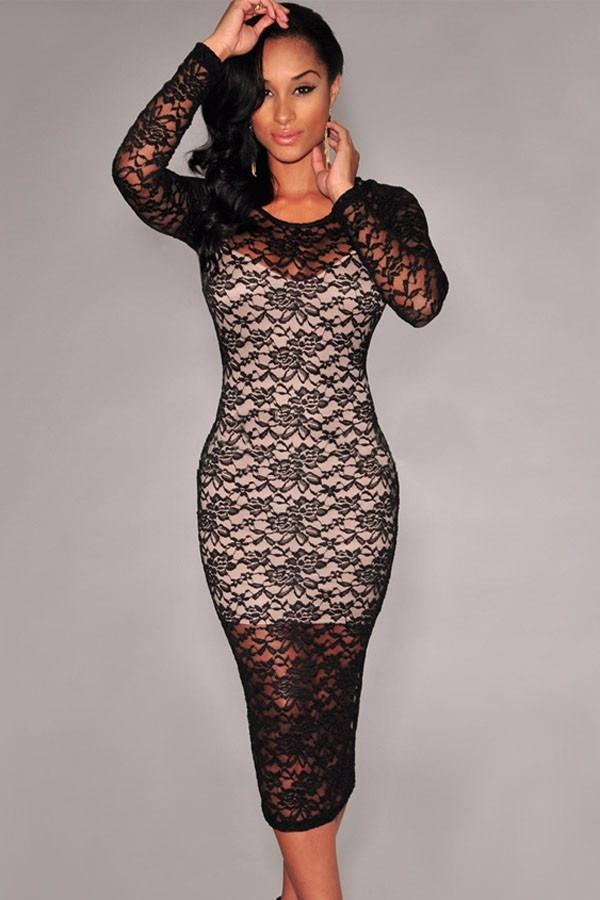 Sexy Vestido Negro Tipo Tubo De Encaje Con Forro Beige - $ 460.00 en Mercado Libre