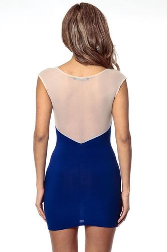 sexy vestido negro y azul transparencias piel sin mangas