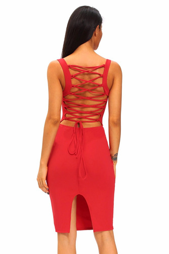 sexy vestido rojo con tirantes cruzados en espalda 61159-3