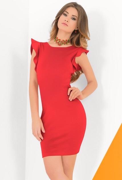 9c1bb9beb6dc4 Sexy Vestido Rojo De Fiesta Corto Con Mangas De Olanes -   399.00 en ...