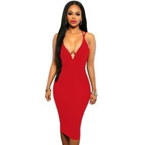 23101fc026 Sexy Vestido Rojo Dos Tirantes Entallado Con Escote 61053 -   340.00 ...