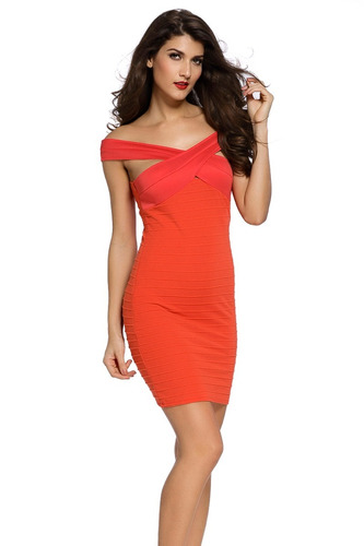 sexy vestido rojo terracota entallado pequeñas mangas  21979