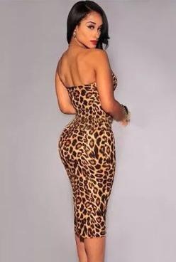 sexy vestido strapless animal print moda club sensual hermos