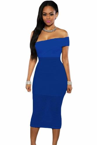 sexy vestido strapless azul forro una manga transparencias