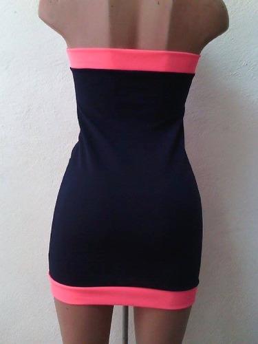 sexy vestido strapless marino rosa cierre al frente antro