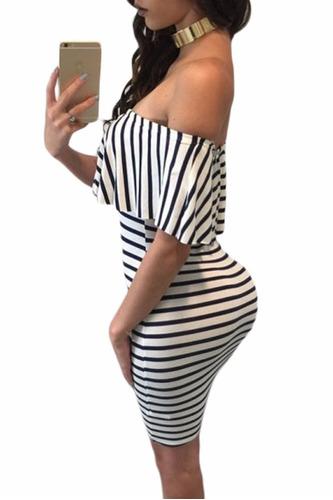 sexy vestido strapless moda blanco negro antro fiesta 22792