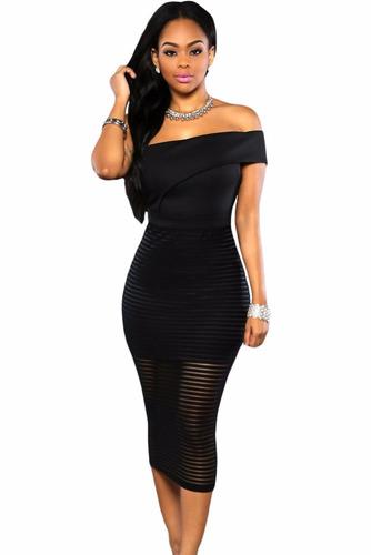 sexy vestido strapless negro una manga transparencias 60937