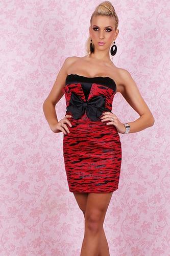 sexy vestido strapless rojo animal print moño al frente 2382