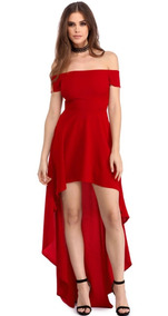Sexy Vestido Strapless Rojo Asimetrico Largo Elegante 61437