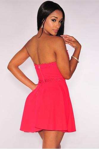 sexy vestido strapless salmon elegante bordado fiesta 22389