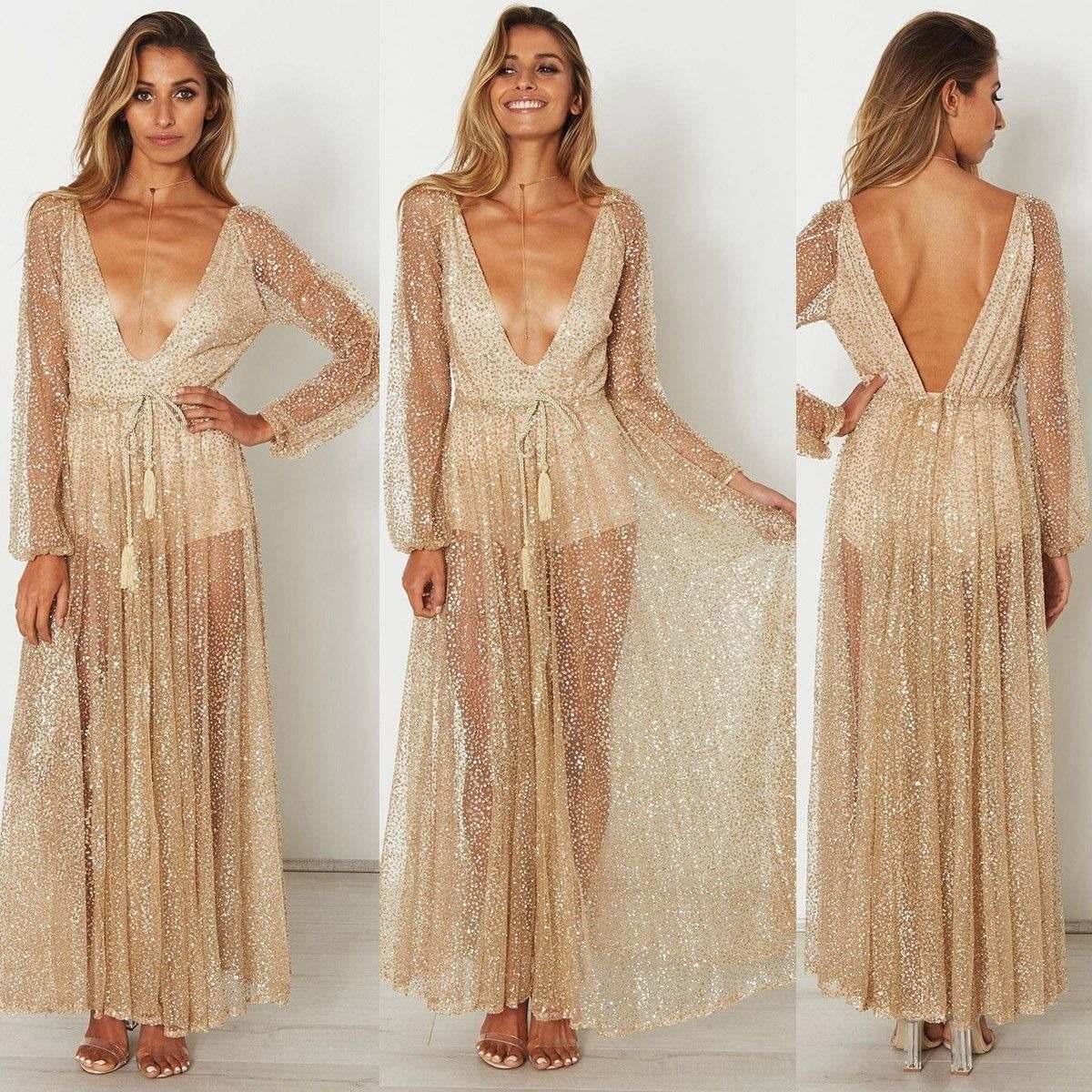 Vestido de noche transparente