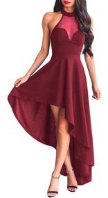 694163490cc7 Sexy Vestido Vino Halter Asimetrico Largo Elegante 61800
